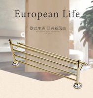 Wholesale Newly Wall Mounted Bathroom racks shelf Golden Finished Double Bar Ceramics Base chrome Towel bars Holder Rack rail Solid Brass
