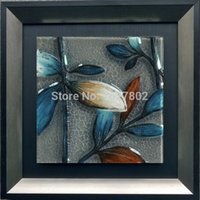 Wholesale Beautiful Handpainted Framed Leave Glass Oil Paintings Wall Decor for Bedroom Decoration
