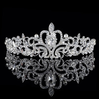 beaded crystal heart - 2016 Cheap Sparkle Beaded Crystals Wedding Crowns Bridal Crystal Tiara Crown Headbands Hair Accessories Party Wedding Bridal Tiara