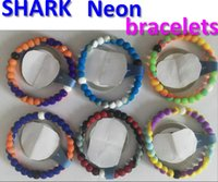 Wholesale HOT COLORS top quality SHARK COLOR Neon rainbow water bracelets seaside memorial Silicone bracelet with original Tags
