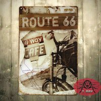 Wholesale Hi Way Cafe Route Motorcycle Decor Vintage Metal Tin Signs Pub Wall Poster D