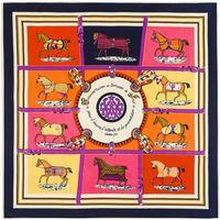 Wholesale Scarves Horse Design - 100cm*100cm MTscarf 100% Twill Silk Euro Brand French design Ten Horse Pattern Printed Women Gift Silk Scarves