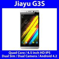 Commercio all'ingrosso -Jiayu G3 Smartphone Quad Core da 1,2 GHz Dual Sim Camera 4,5 pollici HD IPS Gorilla Glass GPS 3G Android Bluetooth 4.2.1