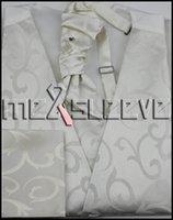 Gilet d'ascot de gros-chaud vente ivoire tourbillonnement Tie Hommes Set pour le mariage