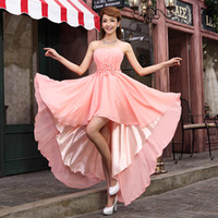 Wholesale Coral Graduation Dress Flowers Crystal Sleeveless Short Front Longo Back Chiffon Bride Robe De Soiree