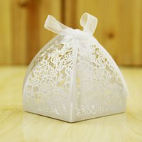 Cheap 100 PCS Wholesales Bridal Wedding Party Candy Chocolate Boxes Decorations Lase Cut Hollow Favor High Quality Holders Gift Box Sweet Bag
