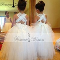 Wholesale 2017 Lace Ball Gown Flower Girl Dresses Cheap Vintage Lace Cross Backl Tulle Floor Length First Communion Dress For Girls