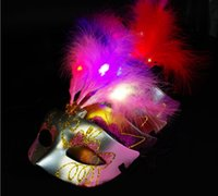 Wholesale Light hair mask golden pink princess LED mask lovely feather mask mask of the mask of the mask of light