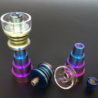 Wholesale Rainbow Color Domeless Titanium Nail With Quartz Carb Cap Titanium Nails mm mm mm Female and Male Joint For Glass Bong Water Pipes