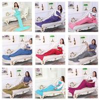 Wholesale Yarn Knitted Mermaid Tail Blanket Handmade Crochet Mermaid Blanket Kids Throw Bed Wrap Super Soft Sleeping Bed Sofa Blankets CM CM