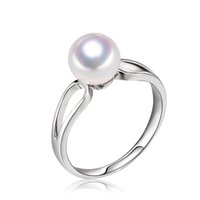 pearl - Veeka jewelry white freshwater pearl ring silver wedding rings for women fashion accessories jewelry gift
