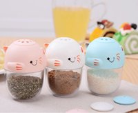 Wholesale Creative Cute Cartoon Cat Function Adjustable Spice Shaker Condiment Container Seasoner Bottle Jars and Toothpick Holder