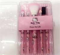 Cheap 2016 NEW Factory Outlet Hello Kitty 5 Pcs Set Makeup Brush Set Professional Makeup Tools Portable Storage Box Full Set Free Shipping