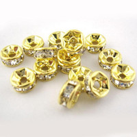 Wholesale 30pcs Czech Rhinestones Gold Rondelle Spacer Beads mm DIY Jewelry Beaded C0019 SPDH