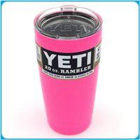 Wholesale Pink Yeti Coolers Cup Bilayer Stainless Steel YETI Rambler Tumbler Car Beer Mug oz Insulation Cups Large Capacity Water Bottle