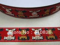 Wholesale ribbon OEM inch mm Christmas Reindeer grosgrain ribbon webbing yds roll for