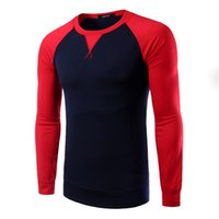 raglan shirt - 2016 new arrive Raglan sleeve Panelled slim Men s T shirts long sleeve o neck mens t shirts men s shirts navy