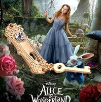 alice gold necklace - Alice in Wonderland Key Necklace Gold Lock Charm Pendant Necklaces for Women Movie Jewelry Christmas Door Knob and Key Necklace B41