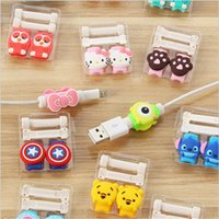 Wholesale Universal silicone cartoon cable protector anti cracking saver for charging charger cable data line earphone wire USB cable