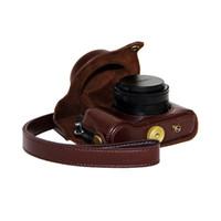 Wholesale High Quality Camera bag Hard Leather Case Bag For Panasonic Lumix LX100 Coffee