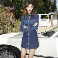 alexa chung - Limited Edition ALEXA CHUNG FOR AG New Mini Dress sexty club dress Slim Fit BLUE denim dress vestidos vestido Shirt