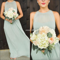 Wholesale 2016 Elegant Sage Green Chiffon Ruffles Long Bridesmaid Dresses Floor Length Open Back Boho Country Wedding Party Maid of Honor Gowns Formal
