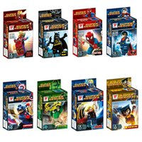 Wholesale Super Heroes the Avengers Iron Man Superman Minifigures Building Blocks Sets Baby Figure brick Toys For Children gift box packaging