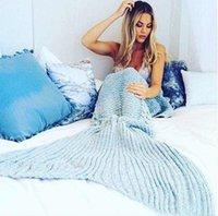 Wholesale New Arrival Mermaid Tail Blankets Soft Hand Crocheted Cartoon Sofa Blanket Air Condition Blanket Sleeping Bags Siesta Blanket X90cm