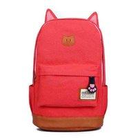 big cat backpack - Fashion2016 New CUTE Cartoon Cat Ear Shoulder Bag Backpack Schoolbag Big Capacity Canvas Backpacks Colors