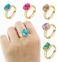 Wholesale Bohemian Natural Stone Ring Gold Plated Irregular Crystal Druzy Rings For Women Men Luxury Couple Jewelry Can Adjust
