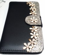 alcatel cellphone - Bling Rhinestone Cellphone Wallet Case Diamond Flower Shell Cover Protection For Iphone Samsung Galaxy s6 Note5 LG G4 Stylus Alcatel