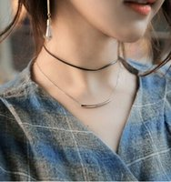 bend necklace - Necklaces Chokers Fashion Women Bohemia Brief layer Black Rope Alloy Chains Gold Silver Plated Bends Necklaces Jewelry SN855