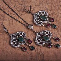 antique gold jewellry - Antique Silver Vintage Jet Black Resin Turkish Fashion Jewelry Sets Colares Bijuterias Women Jewellry Neclace Earings Set Bijoux