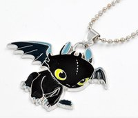 animated training - 3D Animated Cartoon How To Train Your Dragon Black Enamel Pendant Necklace alloy Oil drip Toothless Night Fury Necklace