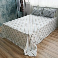 Wholesale Cotton Bed Linen Degree Checked Sheet Sets Green Grids Sheet Queen Fitted Sheet Twin Case Beddig Sets