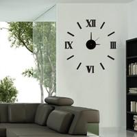 Wholesale New DIY Roman numeral wall clock mirror sticker wall clock modern design for living room home decor