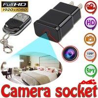 Wholesale 1080P Mini DVR Hidden Spy Camera EU US Plug Power Charger Shape Motion Detecion Cam Video Recorder Wireless Remote Control S303