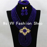 african items - Royal blue African beads Jewelry Sets K Gold Champagne nigerian Wedding Beads silver jewellery pendant sets new african items G01
