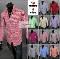 Wholesale Men Plaid Business Dress Shirts Fashion Casual Shirts Short Sleeve Tops Slim Fit Shirts Leisure Sports Tees Cotton Camis Men Clothing