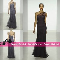 amsale evening gowns - 2016 Amsale Mermaid Bridesmaid Dresses Cheap Sexy Sheer Neck Tulle Full Length Backless Wedding Evening Gowns Formal Prom Maid of Honor Wear