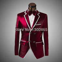 Wholesale Jacket Pants Bow tie Fashion Men Suits Prom Slim Silver Wine Red Bright Color Groom Double Breasted Wedding Dress