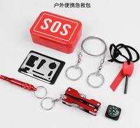 Wholesale Portable SOS Emergency Survival Kit Outdoor Equipment Self help Aid Box SOS Camping Hiking CM
