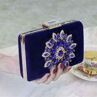 Wholesale New Fashion Latest Royal Blue Velour Flap Evening Hand Bags For Women Cheap Rhinestone Diamonds Hasp Clutch Bags EN5211