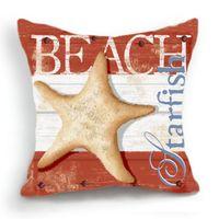 beach cushion covers - Retro Design Cushion Cover Pillow Case Sea Beach Starfish Home Decor