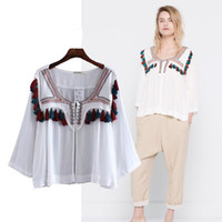 Wholesale Ethnic Clothing New Fashion Women Cheap Clothing Hand tassel cardigan Boho Ethnic Embroidered Blouse suncreen