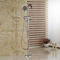 bath shower freestanding - Chrome Freestanding Floor Mount Bath Tub Filler Faucet Spout Single Handle with Handheld Shower Head
