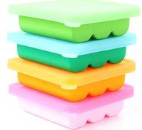achat en gros de couvertures de gros pour la nourriture-DHL EMS Vente en gros 100pcs / lot Nouveau design de qualité alimentaire moulin en briques de glace 9 cavités silicone Ice Cube plateau avec couvercle