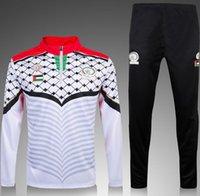 Wholesale Palestinian football training suit jacket fleece white black football jersey football running unlined upper garment