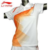 Wholesale Li Ning Women s Short Sleeve Table Tennis T Shirt Quick Dry Turn down Collar Sports Li Ning Breathable Badminton Tee Shirts