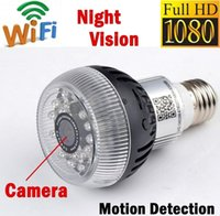 Wholesale 1080P Wifi P2P Spy IP camera E27 Smart Wireless LED Lamp Bulb Night Vision Security DVR Camcorder P2P Control APP Support IOS Android System